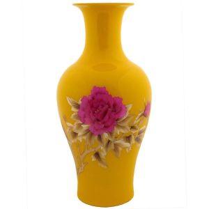 Jarrón 68cm -Flores fondo amarillo